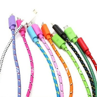 10pcs/lot 1M Colorful  Fabric Nylon Braided Micro USB Cable For Samsung Galaxy S3 S4 Note 2 I9300 I9500 N7100 Freeshipping