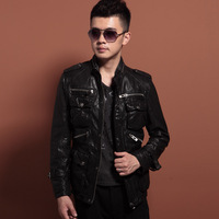 Motorcycle leather clothing genuine sheepskin leather clothing male leather jacket outerwear slim