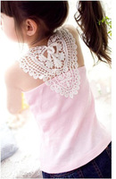 Child spaghetti strap vest 2013 lace cutout crochet baby vest