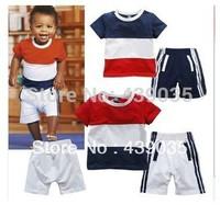 SH303 New Arrival short sleeve t-shirt +shorts baby Boy clothing sets children Leisure suit kids' Boys' T-Shirts sports wear