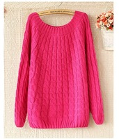 Free Shipping 2014 PROMOTION Women Long Sleeve O-neck Fashion Vintage Knitted Jacquard Pullover and Woman Sweater