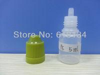 E-cigarette Wholesale Free shipping--5ml PE childproof cap bottle with normal tip for 5000pcs E-cigarette bottle