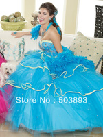 Free shipping masquerade ball dresses blue quinceanera dresses 2014 sweet 16 ball gowns formal quinceanera dress