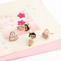 Brincos wholesale  lots ks bijoux 18k gold plated Oil bags cartoon little girl asymmetrical stud earring e9470b  for women