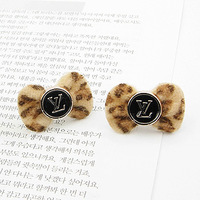 Brincos wholesale fashion lots ks bijoux 18k gold plated Coffee cashmere leopard print bow stud earring e7298a  for women