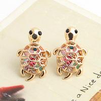 Brincos wholesale  lots  bijoux 18k gold plated Inlining multicolour rhinestone cutout little turtle  stud earring e9131