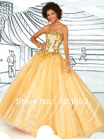 Free shipping masquerade ball gowns Sequin gold quinceanera dresses 2014 sweet 16 gowns pretty plus size quinceanera dress
