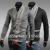 0936 Hit color stitching Slim single-breasted stand collar men's sweater