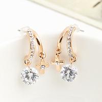 Brincos fashion ks bijoux 18k gold plated Cutout inlaying zircon circarc cross stud earring e8918  Min.order $10 Christmas gift