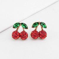 Brincos fashion lots ks bijoux 18k gold plated Red rhinestone green rhinestone cherry stud earring e7673  Min.order $10