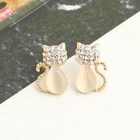 Brincos fashion lots ks bijoux 18k gold plated  beige - eye kitten exquisite stud earring e8996b  Min.order $10