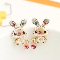Brincos fashion lots ks bijoux 18k gold plated Inlaying pearl cartoon rabbit cutout  rabbit ears exquisite stud earring e8984