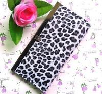 Free shipping  Leopard print women's long design wallet wallet