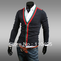 0935 Fashion striped stitching Slim V-neck men's cardigan