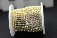 Free shipping 888 3mm ss12  Crystal Rhinestone Close Chain Clear Trim x 10 YARD