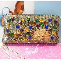 Vintage polka dot genuine leather peacock colorful rhinestone chain day clutch evening bag messenger bag 832
