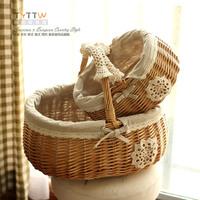 Rustic zakka handle willow storage basket bread picnic basket Large fabric lace