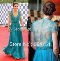 Princess kate Chiffon V neck Lace Sash Beading Floor Length Blue Elegant Dresses Free Shipping Formal Celebrity Evening Dresses