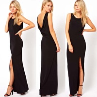 Women lady's black chiffon skirt back deep  V-neck placketing pleated tank dress