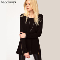 female black  long-sleeve o-neck medium-long basic shirt  sweep symmetrical oblique zipper decoration