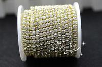 Free shipping 888 4mm ss16  Crystal Rhinestone Close gold Chain Clear Trim x 10 YARD
