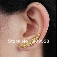 Rhinestone Leaf  Earrings Golden/Silver Punk Rock Women Leaf Stud earrings Valentine's day wedding Gifts 40pcs/lot