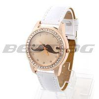 Rhinestone White PU Band Quartz Movement Round Dial Bracelet Wristwatch Watch