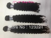 "12-30"" Virgin brazilian hair human hair extensions deep curly weft 3pcs/lot free ship off black free shipping 100% cuticle"