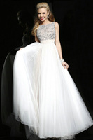 New Arrival Style Sleeveless Cream Tulle Lady Fashion Dresses Beads Evening Dress