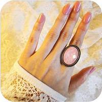 Leopard print od0042 gem accessories oval vintage cutout flower ring finger ring 14WE
