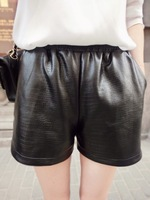 Female leather shorts 2013 high waist boot cut jeans shorts autumn and winter Women winter pants shorts
