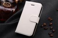 Free Shipping Lichee Pattern wallet leather sheath phone Case Hot Fashion Top Quality Cover For Iphone 4/4s white color