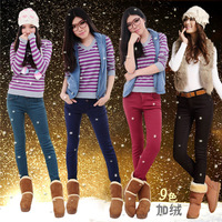 2013 autumn and winter elastic multicolour plus velvet thickening female skinny jeans pencil pants