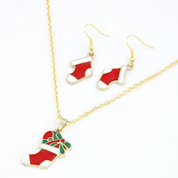 MOQ is $15 (mix order) winter cute cartoon Christmas stocking Kit - Christmas Boots Set ( necklace earrings ) Christmas Gift