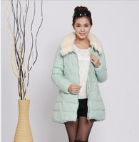 Free shipping the new woman 2013 heavy hair led the women's cotton in long loose white collars cotton-padded jacket