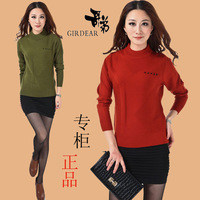 2013 autumn and winter sweater brief women's high round collar cashmere sweater long-sleeve basic shirt