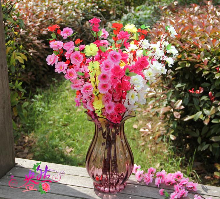 """Haste Única flores de seda 25 """"Longo Cereja Flor de Pessegueiro Árvore 5 cores artificiais Casamento Casa Escritório Loja Hotel Flowers Exibição(China (Mainland))"""