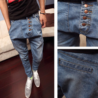 2013 slim button male pants male jeans skinny pants