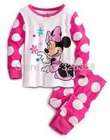 Free shipping 6 sets/lot nightwear Baby Girls lovely Polka dot Minnie Mouse sleepwear pajamas Kids Long sleeves pyjamas homewear