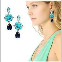 blue gem earrings bohemian style crystal drop earrings jewelry for women 2013 new design free shipping