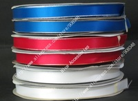 "5/8"" 16mm Polyester Gold Silver Metallic Edge Satin Ribbon Wired Ribbons With Metallic Edge DIY Accessories 100yards/color GS16"