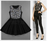 New 2013 autumn winter fashion women dresses handmade beading rivet sequin black patchwork tank dress one-piece dress free ship