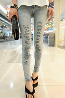 Vintage light color hole jeans female trousers 2013 women's elastic pencil pants slim