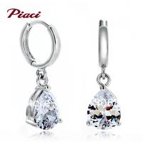 Piaci crystal earrings long design girl Wedding Jewelry Silver drop earring fashion in ear anti-allergic earrings accessories