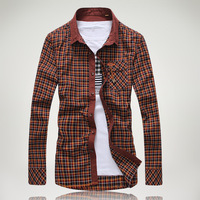 2013 autumn classic plaid personalized decoration male long-sleeve shirt c805-p75 orange