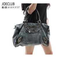2013 women's handbag one shoulder fashion cross-body motorcycle vintage punk fashion denim bags