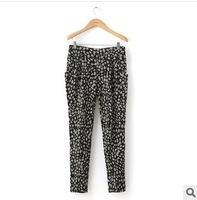 Autumn and winter women fashion polka dot high waist slim casual pants harem pants plus size pants