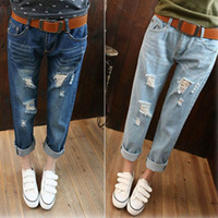 Casual hole loose plus size ankle length trousers bf straight denim trousers female