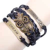 Leather rope weaving the owl bracelet Retro bracelets wholesale,free shipping W8034