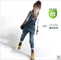 2013 denim bib pants female trousers loose plus size casual hole spaghetti strap pants